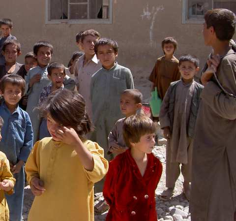 Mob of children